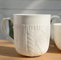 white ceramic mug - hot selling knitted sweater white mug fine bone china ceramic coffee mug zakka porcelain cup
