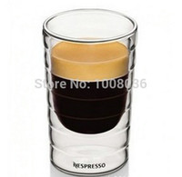 al por mayor tazas de nespresso-Wholesale-10pcs / lot, taza de café de 80 ml, Nestlé Nespresso SA, vidrio de doble pared con forma de rosca