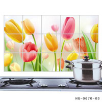 aluminum foil sticker - Flower Pattern Aluminum Copper Waterproof Foil Sticker Oil Proof Kitchen Wall Paper Decal Decoration Kinds Of Style