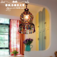 asian style lamps - Southeast Asian style Bronze vintage small pendant light small crystal light aisle lights balcony lamp