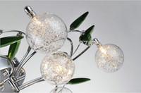 aluminium light shade - Modern K9 Crystal Leaves Aluminium Glass Balls Shade LED Ceiling Light Crystal Light Living Room Lights Bedroom Lights EMS Free