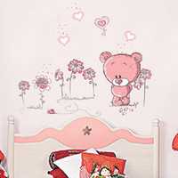 Cheap Wholesale-Hot Sale Removable Vinyl Cute Litter Bear Wall Stickers Home Decoration Wall Decals Kids Rooms Decorate Drop Shipping HG-061562