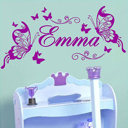 Wholesale-Butterflies Personalized Name Vinyl Butterfly Wall Mural Nursery Vinyls Girls Room Decor Wall Decals for Kids Room Wall Sticker