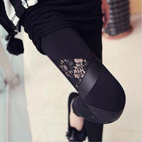 Wholesale The New South Korean fashion Leggings black triangle lace fight skin nine minutes of pants