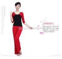 bamboo yoga wear - Set Yoga wear Yoga women clothing Set T Shirt Pants Bamboo fiber Plus Size M L XL XXL Grey Red