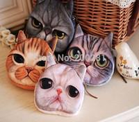 Wholesale Cute Mini Cat Coin Purse Wallet Styles Plush D Print Cat Face Zipper Case Coin Purse Wallet Pouch Women Kids Gift