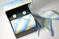 Yarn Dyed silk tie and handkerchief - new Men s tie ties Necktie With Handkerchief Cuff Button and box Silk factory ties