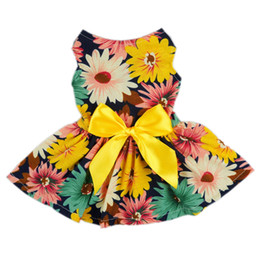 Wholesale-Pet Elegant Floral Ribbon Dog Dress Shirt Vest Sundress Clothes Apparel Free Shipping XS Small Medium Large Summer Chihuahua