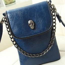 Wholesale Mini Skull Pattern Single Shoulder Tote Bag Clamshell Style Chains Handbag Ladies Cell Phone Holder hb257