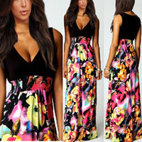 animal print maxi dress - High Quality Brand NEW Summer Women Floral Chiffon Long Dresses V Neck Beach Patchwork Boho Maxi Sundress Plus Size S XL