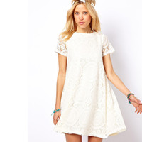 big chic - NEW Dress Womens Short Sleeve Lace Dress Party Casual Dress Loose Big Yards Sundress Chic S M L XL Free amp Drop Shipping