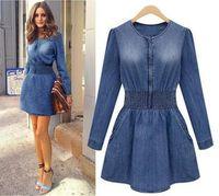 band sleeve - new fashion women denim dresses o neck long sleeve dress smoke banding denim dress plus size Jeans