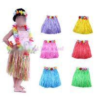Wholesale Kid Child Girl Flower Hula Grass Skirt Fancy Short Wristband Costume Skirt Hawaiian dance in1 Set