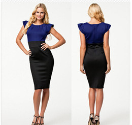 Wholesale-Summer Dress 2015 New Women Elegant Knee Length Brief Bodycon Midi Dress OL Pencil Dress Women Work Wear Office Dress