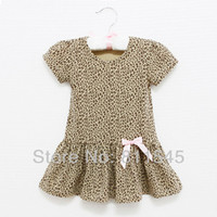 Cheap Wholesale-Cute Baby Leopard Print Girls Dresses for Toddler Casual 2015 New Arrival Summer Kids Clothes Children's Wear Clothing
