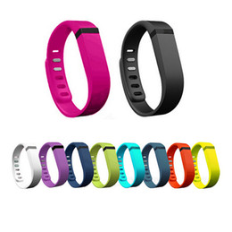 Wholesale-10pcs lot Large Small Size Rubber wristband wireless Band For fit bit flex Activity Bracelet with Metal clasp CA000115L