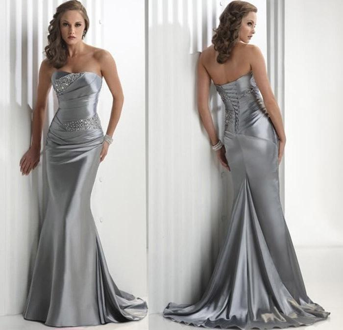 Beautiful Sexy Bride Strapless Wedding Dresses Prom dress stock Silver    Beautiful Strapless Prom Dresses