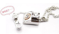 american slide phones - Hot Crystal Phone Pendant Chain Alloy necklace Elegant Necklace Sliver Color Retail