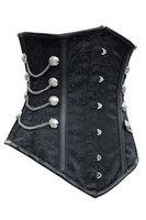 latex clothing - new latex waist cincher waist training corsets Noble Black Satin Underbust Corset with Chains gothic clothing