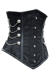 Wholesale-new 2015 latex waist cincher waist training corsets, Noble Black Satin Underbust Corset with Chains gothic clothing