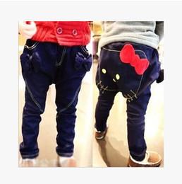 Wholesale-New autumn children's jeans denim long pants Hello Kitty jeans for girls baby jeans kids Harem pants for girls