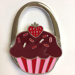 Wholesale Cupcake Metal Foldable Bag Purse Hook Bag Hanger Purse Hook Handbag Holder Bling Bag Folding Table Rhinestone