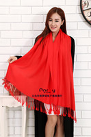 cotton shawls and scarves - new Fashion cotton scarves Large Winter and Autumn plain color shawl Ladies Pashmina Cashmere Women s Thermal Lace Tassel Wrap