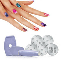 Cheap Wholesale-5pcs Salon Express Pro Nail Art Stamping Stamp Tools Image Plates Set Manicure Kit Stencil Tool DIY Designs Free Shipping