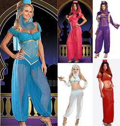 Wholesale Fashion New Sexy GENIE Jasmine Aladdin Princess Costume Fancy Dress Arabian Belly Dancer Dress