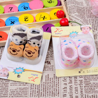 Cheap Wholesale-Retail 2pairs pack Kids Baby Unisex Newborn Animal Cartoon Socks Cotton Shoes Booties Boots 0-10M Free shipping & Drop