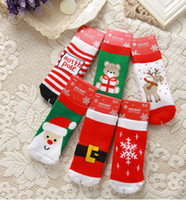 Wholesale Can mix style baby socks boy and girl s cartoon short socks children terry thicken warm kid s christmas socks