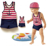 Wholesale Children boys swimwear new Cool swimsuit swimming cap Sailor Stripe bathing suit child one piece swimsuit baby boy swimwear