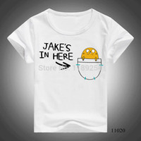 Wholesale New Kid T Shirts Adventure Time Print Jake In Pocket Children s Short Sleeve T shirt Cotton Girls Boys Tops Tees Child Clothes