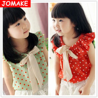 Cheap Wholesale-Retail Summer Girl's Dot Chiffon Sleeveless Big Bow Princess Shirt Children's Clothing Baby Casual Cute Tops Tees