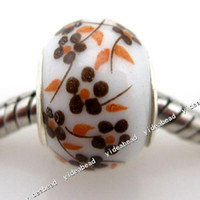 Black ceramic beads flower - 1250 New yellow flower ceramic Porcelain Charms Bead Fit Bracelet and diy european FREE DHL