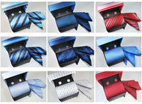 Wholesale Factory Mixable set High Quality tie hanky cufflink luxury gift box set