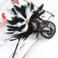 Wholesale sexy black lace party mask on stick beautiful feather flower side Venetian masquerade party mask