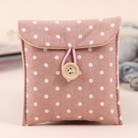 Cheap Wholesale-Free shipping Korean version of the fresh wave point linen napkin wooden buckle Pouch Bag cloth napkin sanitary napkin package