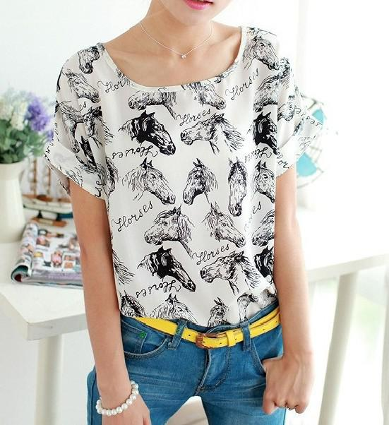 Wholesale-2015 new fashion ladies women's big size batwing sleeve cool horse print sexy chiffion tops shirts blouses for women promotion