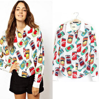 beverage can printing - New Chiffon Blouses Shirt Women Cartoon Beverage Can Print Long Sleeve Blusas Femininas Vintage Casual Brand Design Tops