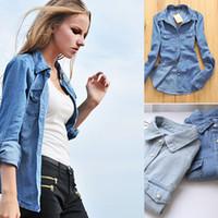 gradient denim shirt - Plus size denim shirt women clothing nostalgic gradient jeans shirt vintage womens camisa jeans blusas feminina blouse