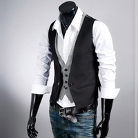 asian beer - HOT Fashion plaid faux two piece male slim vest tank tops undershirt beer for men singlet M24 Asian Tag Size M XL