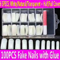 acrilic nails - Fake Nails with Glue amp Case Set French Clear Acrilic Artificial False Half Full Cover White Natural Transparent Skin