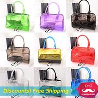 Wholesale HOT women messenger bags Transparent bag jelly crystal beach bags Candy colors shoulder bag bolsas handbags Swept the world