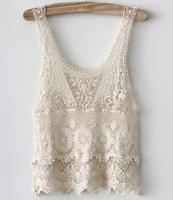 Cheap Wholesale-2015 women Embroidery cotton lace Tank Top T shirt white Ladies Sexy Floral Lace Crochet shirt blusa de renda free shipping