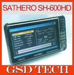 metros buscador de satélites mayor-original SATHERO SH-600HD DVB-S2 Buscador de satélite digital con analizador de espectro de 7 pulgadas LCD USB2.0 desde buscador hd sathero fabricantes