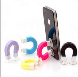 Wholesale-Wholesale Magnet Phone holder U design mobile phone holder Multifunction cell phone holder Cable wire wrapper