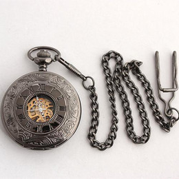 5pc Vintage Style Mens Roma Carved Pattern Pocket Watches Mechanical Skeleton Black Grey Chain Watch