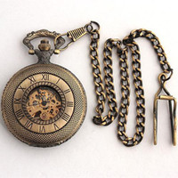 Wholesale 5pcs Handmade Bronze Copper Mens Chain Pocket Watch Skeleton Mechanical Half Hunter Pendant Watches