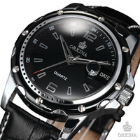 Cheap Wholesale-Classic Stainless Steel Case Relojes Date Black Leather Strap Japan Movement Sports Quartz Fashion Mens Casual Watch ORK053